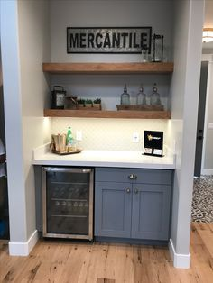 Bar area with wood shelves instead of upper cabinets dream h Small Basement Bars, Wet Bar Basement, Basement Ideas, Basement Plans, Basement Finishing, Small Bar Areas, Home Bar Areas, Wet Bar Designs, Home Bar Designs