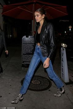 Kaia Gerber, joins parents Cindy Crawford, and Rande, 56 Models Off Duty, Cindy Crawford, Looks Style, My Style, Reptiles, Kaia Gerber, Rande Gerber, Leather Jacket Outfits, Model Street Style