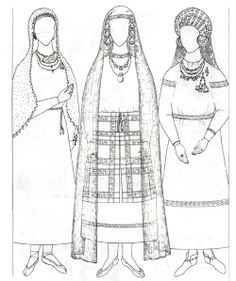 Interesting 13c russian outfits. Like the temple rings and the apron over skirt thing, from a article on early russian costumes in russian.