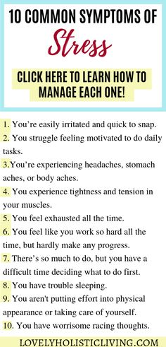 10 common symptoms of stress and stress management tips! Do you experience daily stress and overwhelm? Dealing with stress isn't easy so I wanted to give you stress relief ideas so you can gain control of your life. Coping With Stress, Work Stress, Dealing With Stress, Stress Less, How To Relieve Stress, How To Manage Stress, Stress Free, What Is Stress, School Stress