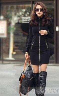 New Deluxe Black Long Sleeve Sweater Dress
