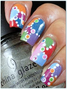 Pinned by www.SimpleNailArtTips.com SIMPLE - Boombastic Nails: Dots Dots Dots, patchwork quilt style nail art manicure #nails