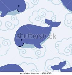 Seamless pattern with cute cartoon whale in clouds on blue background Vector illustration
