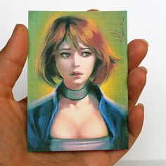 """SMALL ORIGINAL ART PICTURE PAINTING ACEO card. Watercolor and Acrylic painting on a professional paper. ORIGINAL AUTHENTIC ART ! ACEO ( Art Cards, Editions & Originals). """" BEAUTIFUL WOMAN """".   eBay!"""