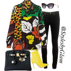 A fashion look from April 2016 by stylesbyglam featuring Versace, rag & bone, Christian Louboutin and Hermès