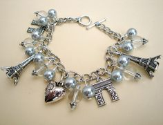 Vintage style Paris inspired silver charm bracelet | Pirate Treasures Handmade Jewellery