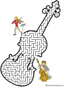 Violin Maze: Guide the violinist to the bassist. Music Education Games, Music Activities, Teaching Music, Music Lessons For Kids, Music For Kids, Music Worksheets, Violin Lessons, Elementary Music, Music Therapy