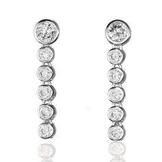 Bezel Set Cubic Zirconia in Sterling Silver Post Earrings (#E005182)