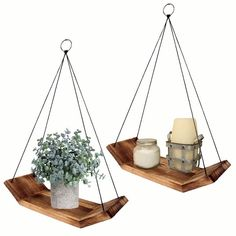 Wall Hanging Shelves, Wood Floating Shelves, Rope Shelves, Plant Shelves, Wooden Shelves, Display Shelves, Kitchen Triangle, Triangle Wall, Modern Shelving