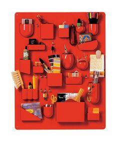 Utensilo Organizer by Dorothee Maurer Becker for Ingo Maurer, Germany Design Shop, Red Design, Office Wall Organization, Office Storage, Organization Ideas, Small Lockers, Red Office, Wall Storage Systems, Maurer