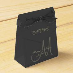 #monogrammed - #Black and Gold Monogram Favor Box