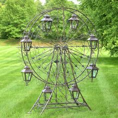 "Large Iron Ferris Wheel ""Atlantic"" with 8 Hanging Lanterns in Antique Brown/Blue (Iron - Antique Bronze - Assembly Required), Outdoor Décor Metal Garden Art, Metal Art, Hanging Lanterns, Glass Lanterns, Flower Cart, Diy Bird Feeder, Lawn And Garden, Home And Garden, Garden Bed"