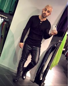 guy with bleached hair and leather pants….he looks great