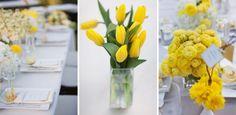 Flores e arranjos de cor amarela