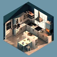 isometric kitchen designed by andrew spencer. Isometric Drawing, Isometric Design, 3d Design, Game Design, Graphic Design, Home Room Design, House Design, Small Game Rooms, Casas The Sims 4