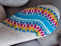 happiness / painted rocks / painted stones / tribal  / rock art / turquoise / hearts / sandi pike foundas /