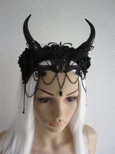Gothic Headdress Headband Headpiece Fascinator Horns Lace Roses Mask Halloween Witch Black