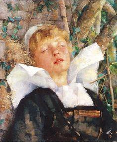 Calura estiva - Maria Wiik Very Sleepy, Oil Paintings, Painters, Scandinavian, Dog Cat, Pastel, 19th Century, School, Portraits