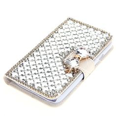 For LG G4 Case, Moonmini® 3D Luxury Bling Rhinestones Diamonds Bow Bone PU Leather Flip Case Cover Wallet with Card Holders for LG G4 (White)