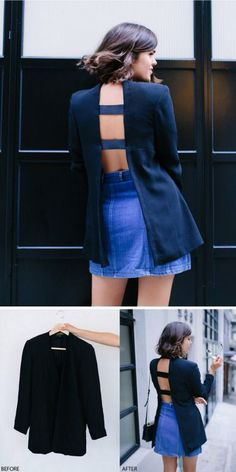 DIY Open Back Blazer.Take a thrifted blazer, or one you don't…