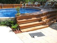 35 Modern Pool Deck Designs for Your Backyard. Patio and pool bars are an excellent spot. There lots of solutions that are excellent to keep to maintain your swimming pool deck space pleasurable yearl. Above Ground Pool Landscaping, Above Ground Pool Decks, Backyard Pool Landscaping, Backyard Patio Designs, In Ground Pools, Backyard Ideas, Patio Ideas, Landscaping Ideas, Cozy Backyard