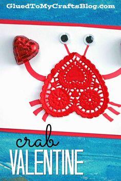 Paper Heart Doily Crab Valentine - Kid Craft - Classroom Valentine's Day Craft - Handmade Card