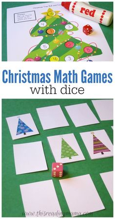Christmas Math Games with Dice - FREE 24-page Printable Pack for Pre-K through 3rd grades - This Reading Mama