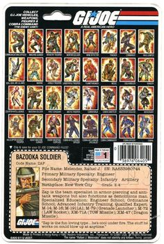 The back of Zap's G.I.Joe figure blister card. Zap was the first G.I.Joe figure I ever owned; I think I lost it in the snow.