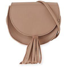 Oliveve Mallory Leather Tassel Saddle Bag (1 495 SEK) ❤ liked on Polyvore featuring bags, handbags, shoulder bags, grey, leather flap handbags, tassel purse, shoulder strap bags, leather saddle bag purse and leather purses