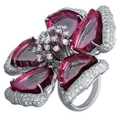 Ruby and Diamond Flower Ring by Sifen Chang