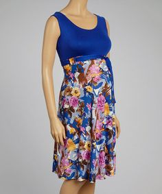 Look at this #zulilyfind! Royal Blue Floral Maternity Empire-Waist Dress #zulilyfinds
