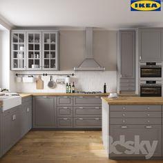 68 Premium Large Modern Eat-In Kitchen with an Island Pictures - HomeCNB Bodbyn Kitchen Grey, Grey Ikea Kitchen, Ikea Kitchen Cabinets, Grey Kitchens, Kitchen Furniture, New Kitchen, Home Kitchens, Kitchen Decor, Kitchen Tips