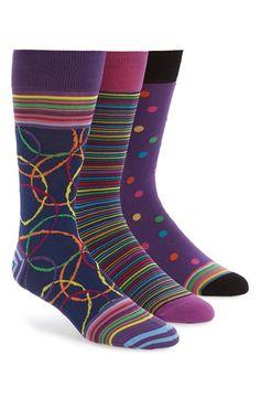Men's Bugatchi Assorted Mercerized Cotton Blend Socks - Purple (3-Pack)