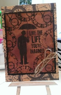 Retirement Card / Used Tim Holtz Alcohol Ink for Background and Tim Holtz Stamps / Made By Cindy 2015