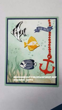 Seaside Shore. Stampin Up! used clear embossing powder.