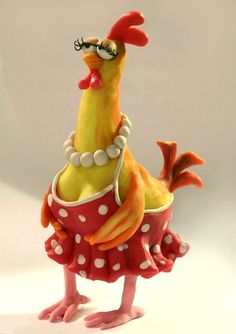 Bird paper mache polymer clay Ideas for 2019 Clay Projects, Clay Crafts, Paper Crafts, Diy Paper, Chicken Crafts, Chicken Art, Clay Birds, Painted Gourds, Polymer Clay Animals