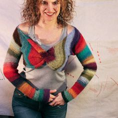 Hombre Stripe Shrug Mexican blanket crazy quilt by WrapturebyInese, $ 126.00