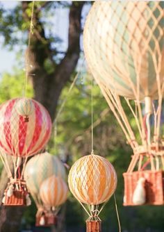 These are cute air balloons to hang from the ceiling or a tree