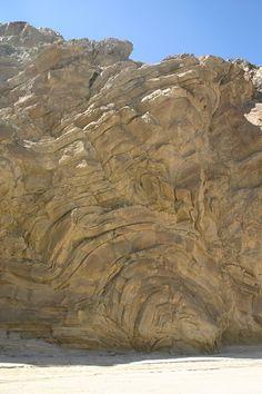Anza-Borrego Desert State Park geology.  80-100 foot rock wall.