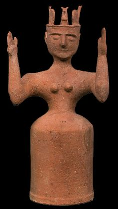 Terracotta figure of a goddess with upraised arms. Late Minoan IIIC (`1200-1100). These numerous religious idols made of cheep materials are characteristic of the decline of Minoan Crete.