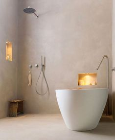 Gorgeous Tadelakt Bathroom Design Ideas For Unique Bathroom - Page 43 of 48 Chic Bathrooms, Amazing Bathrooms, Bathroom Taps, Warm Bathroom, White Bathroom, Lavender Bathroom, Luxury Bathrooms, Cement Bathroom, Bathroom Canvas