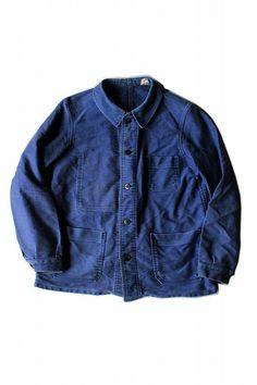 022a801c0f0 French vintage cotton twill work jacket France 1970s blue medium chore  wear 233