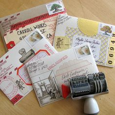 Candy wrapper, labels, washi tape, ticket, scrap book rub-ons, foil numbers, LWA seal, stamp selvage, rubber stamps.