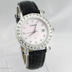 Chico's Ladies Watch Black Leather Band Pearlized Dial Rhinestone Bezel Date SuzePlace.com