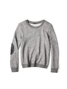 Crew Neck Top in Cozy Cotton Wool Terry with Leather
