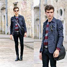 "Wholesale7 Military Jacket, Wow Vintage Sunnies, Triangle Necklace, Jil Sander Bag, Gap Top - ""Damoclès"" - Matthias Cornilleau"