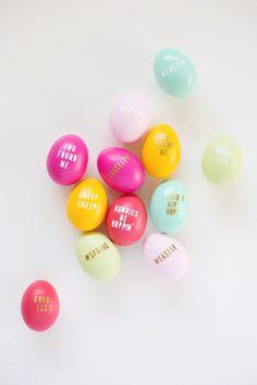 DIY typography Easter eggs.