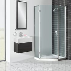 Aqva is the best place to shop for Simpsons Enclosures. ThisBrand new Crosswater Design Plus Semi Frame-Less Pentagon Shower Enclosure now available online. Black Vanity Bathroom, Master Bathroom Shower, Small Bathroom With Shower, Bathroom Layout, Bathroom Showers, Bathroom Ideas, Downstairs Bathroom, Small Bathrooms, White Bathroom