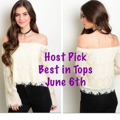 "❤️HP❤️ Off the shoulder lace top NWOT Eye catching lace off the shoulder top. This item is off white. Material is 45% rayon 30% nylon 25% cotton. Laying flat measurements: small: bust: 16.5"" length: 15.5"" medium: bust: 17.5"" length: 16"" large: bust: 18.5"" length: 16.5"" brand new. Tops"