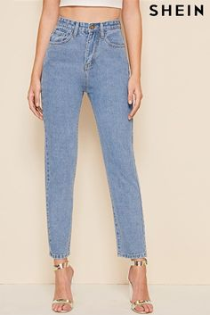 Shop Bleach Wash Mom Jeans at ROMWE, discover more fashion styles online. Levi Strauss Jeans, Bleach Wash, Type Of Pants, Light Wash Jeans, Colored Denim, Denim Fabric, High Rise Jeans, Lingerie Sleepwear, Looking For Women